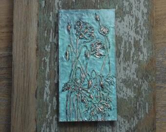 Poppies low relief plaque