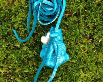 For the Holidays, Silver-ized Blue Deerskin Medicine Bag with Silver Heart, Hand Painted Amulet Pouch with Silver Heart Charm Necklace