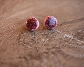 Glitter earrings, 12mm studs, polymer clay and resin Dusty Pink
