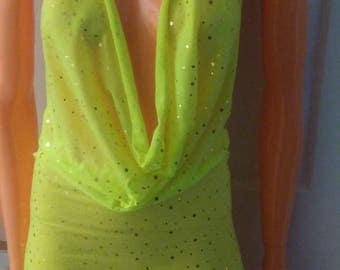 ONLY ONE.  size.xsmall/small. Sparkle sequin neon uv glow fluorescent rave glow party slouch dress  stripper exotic dancer pole dancewear