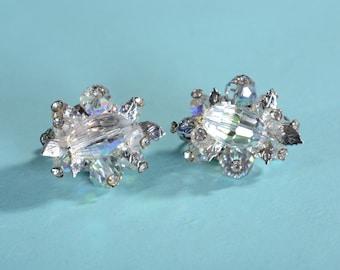 Vintage 1960s Vendome Earrings - Aurora Borealis Rhinestone - Bridal Fashions