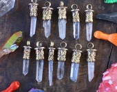 "Mini Luxe Quartz : Himalayan Crystal Quartz Point Pendants with Ornate Brass Caps, 1.5"", Spiritual Designer Jewelry Making Supply, 1 Pc"