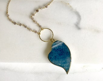Long Blue Stone Pendant Necklace. Layering Necklace. Long Heart Slice Necklace. Long Gold Necklace. Boho Jewelry. Pendant. Gift.