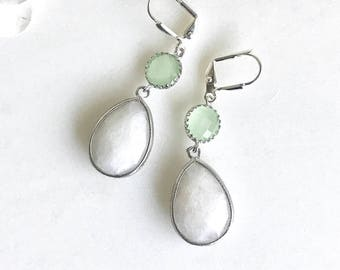 White Teardrop and Mint Dangle Earrings in Silver. Statement Fashion Earrings. Mint and White Bridesmaids Earrings.
