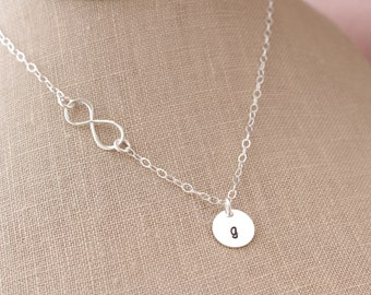 Sterling Silver Infinity Pendant & Sterling Silver Initial Disc Necklace