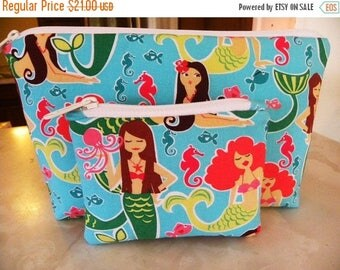 Mermaids XLarge zipper Sea Beauties Cosmetic/accessory with coin pouch