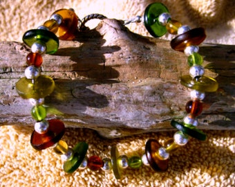 Wine Bottle Bracelet, Hand Cut, Womens bracelet, wine lovers bracelet, sea glass beads, glass circles, frosted beads
