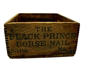 Antique Advertising Black Prince Horse Nail Wood Box Crate - Vintage Storage - Primitive Farmhouse Country Decor