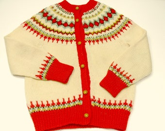 Child's Vintage Hand Knit Norwegian Wool Cardigan Sweater by Bergenskofter