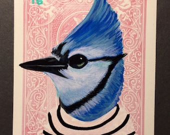 Blue Jay portrait on a playing cards. 2016