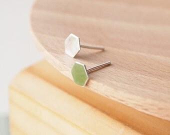 Geometric Stud Earrings - Hexagon studs - Tiny Stud Earrings - Small Honeycomb Hexagon Earrings - Modern Stud Earrings - Last Minute Gift