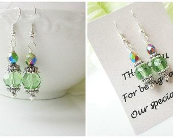 Peridot Earrings, Green Bridesmaid Earrings, Personalized Bridesmaids Gift, Personalized Gifts, Bridesmaid Jewelry, Beaded Earrings, Peridot