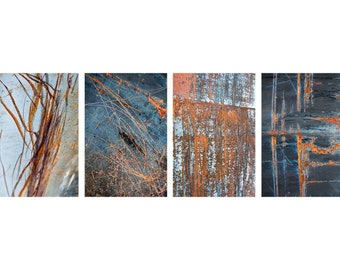 Industrial rust photography series, fine art photographs, wall art set of four photo prints. Rustic interior decor, abstract rust artwork