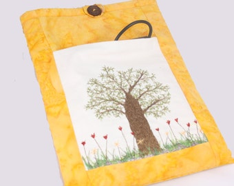 Yellow Fabric Ipad Case Embroidered Tree of life Large pockets Garden floral Cover Padded mini pouch Red tulip garden