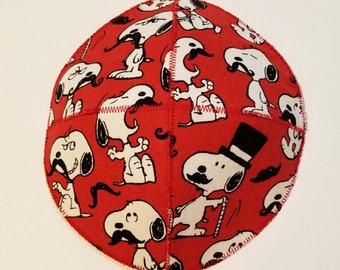 Mustachioed Snoopy Saucer Style Kippah Yarmulke