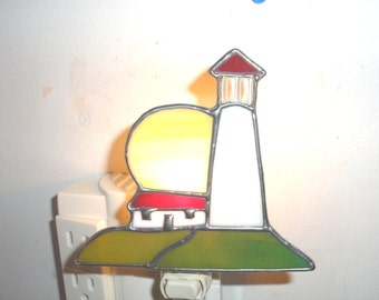 LT Stained glass, Light House, night light, lamp, lighthouse, with sun and house