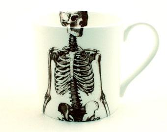 Skeleton Mug Fine Bone China Tea or Coffee White Fun Human Skull Anatomical Anatomy Doctor Christmas Halloween Birthday Present Gift