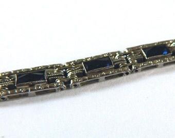 Vintage 1920s Art Deco Bracelet Sterling Silver For Smaller Wrist