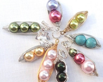 Christmas Sale Peapod Pendant Only -  1 , 2  Or 3 Peas In A Pod Choose Your Color And Metal