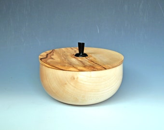 Maple Bowl with Olivewood Lid