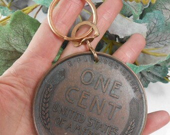Vintage Giant copper penny key ring huge copper wheat penny key fob big penny key ring wheat penny Lincoln penny 1909S  wheat penny relpica
