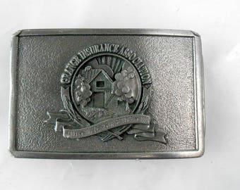 Vintage belt buckle Grange Insurance 100 year anniversary belt buckle pewter belt buckle Jewett Barn advertising American Eagle 1984 to 1994