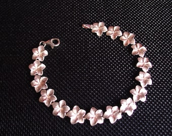 "Sterling Silver Hawaiian Hibiscus 7"" Bracelet"