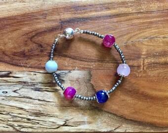 Samantha bracelet in Pink, Blue and Antique Silver