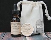 Vanilla Tobacco Beard Grooming Kit, Beard Oil, Beard Balm, Gifts for Him, Vegan gifts, Natural Gifts,
