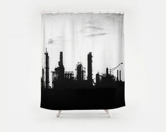 BlacK Industrial Photography Shower Curtain
