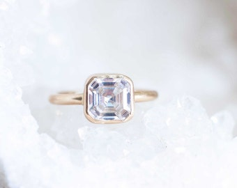 Asscher Cut Moissanite Solitaire Engagement Ring   14k Recycled Gold   2.03 ctw Forever One Moissanite Engagement