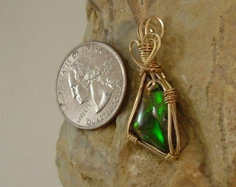 Bright Gem Green, Orange, Yellow to Gold Fire Ammolite from Utah Deposit Wire Wrapped Pendant Using Gold Filled Wire 526
