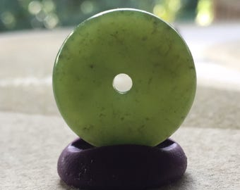 Hand Carved Apple Green Wyoming Jade Pendant