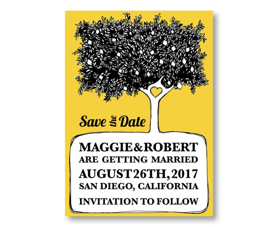 Lemon Tree Save The Date Cards, Lemon Wedding Invitations, Custom Printed with Envelopes, 20 Pieces Per Order