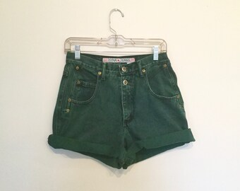 """forest green 1990s high waisted distressed denim shorts 28 29"""""""