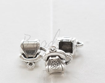 10 Pieces / Telephone / Phone / Oxidized Silver / Base Metal / Charm 14*14.7mm (X1302//H390)