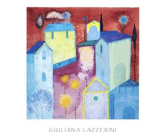 Village at Sunset - Contemporary Art Poster Print from an Original Watercolour - Rare - Hand Signed in Pencil by  Artist Giuliana Lazzerini