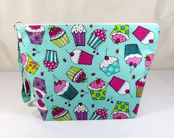 Knitting Project Bag - Large Zipper Wedge Bag in Cupcake Quilting Fabric with Pink and White Chevron Cotton Lining