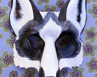 Marble Fox Leather Mask Made To Order Great for Mardi Gras, Masquerade, Halloween, Burningman, Cosplay, Costume,