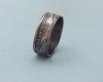 Silver coin ring Washington State quarter year 2007 size 7 1/2, 90% fine silver jewelry unique  gift FREE SHIPPING