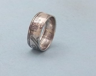 Silver coin ring Tennessee State quarter year 2002 size 7 1/2, 90% fine silver jewelry unique  gift FREE SHIPPING