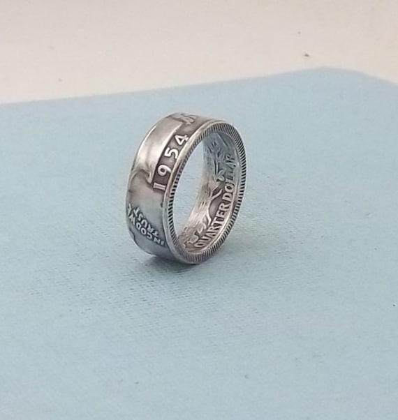 silver coin ring washington quarter year 1954 size 7 90