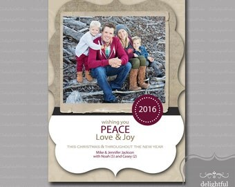 Custom - Photo - Christmas Card - Wishing You Peace, Love & Joy, Christmas Photo Card, Holiday Photo Card - (JPEG Digital File) - You Print