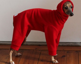 ONE only - Italian Greyhound size MEDIUM standard IG Red Snood Snowsuit / Jammies  - for measurements see details