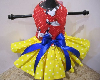 Dog Dress  Red Geese With Yellow PolkaDots