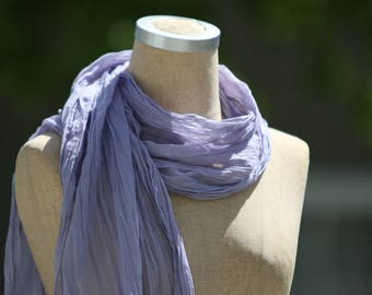 Cotton Voile Summer Scarf, Lightweight Summer Accessory, Sheer Cotton Scarf, Lavender Scarf, Pure Cotton, Boho, Natural Fiber, Long Scarf