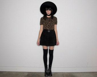LEOPARD PRINT Short Sleeve SWEATER Top 90s Womens Shirt Vintage Size M