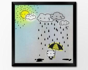 April Showers Kawaii Nursery Printable Art Print, Panda Art, Instant Download Illustration by Sleepy Cloud Studios