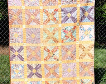 Antique 1920's 30's Feedsack Fabrics Quilt