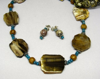Petrified Wood, Blue Apatite and Carved Bone Necklace and Earring set